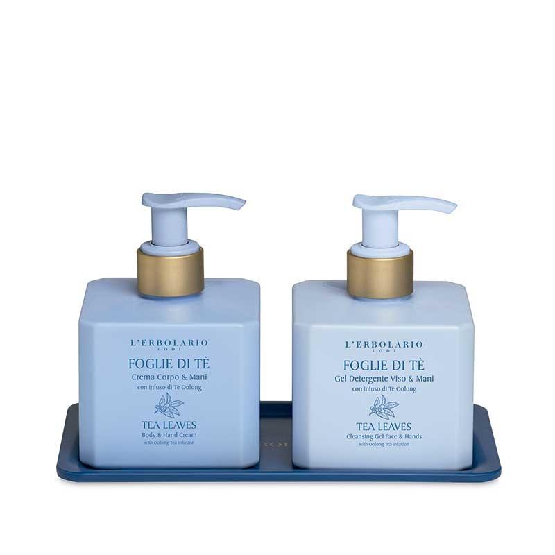 Hojas de Té Duo: Gel detergente Cara y Manos 250 ml y Crema Cuerpo y Manos 250 ml