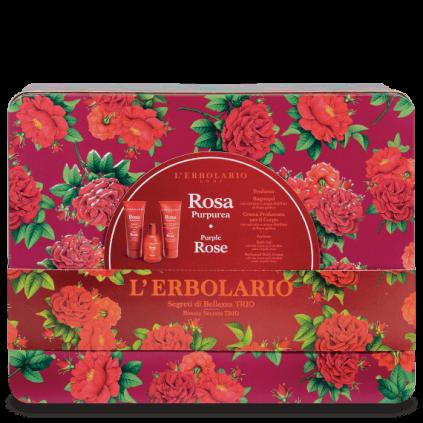 Rosa Purpúrea Secretos de Belleza Trio: Perfume 50 ml, Gel Baño 100 ml, Crema Cuerpo 100 ml
